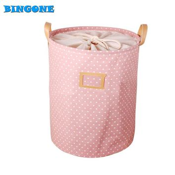 35*45CM Foldable Cotton & Linen Storage Bucket Washing Clothes Laundry Storage Basket With Handles Kids Toys Storage Basket -FF