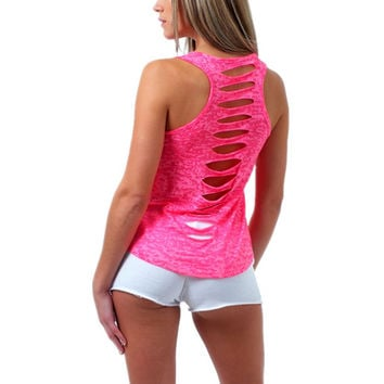 Women Sexy Summer Vest Top Sleeveless Shirt Blusa Cotton Casual Tank Tops Back Hollow Out Fitness Camiseta F1