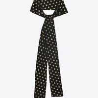 narrow scarf in black silk with lamé polka dots