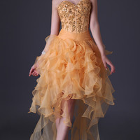 Golden Strapless Beaded Lace Ruffled High-Low Cocktail Dress