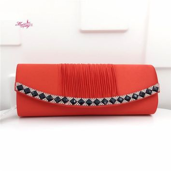 European American Diamonds Handbag Fashion Banquet Bag Evening Crystal Women Wallets Female Party Hand Bag Gifts Solid Color Red