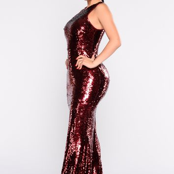 Grandeur Sequin Dress - Burgundy