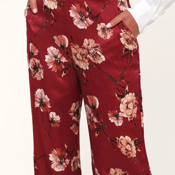 Until Forever Burgundy Floral Print Satin Wide-Leg Pants