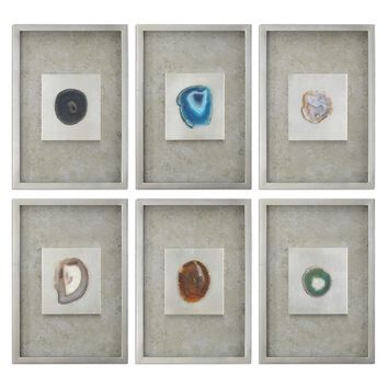 Agate Stone Silver Wall Art Set 6 By Uttermost