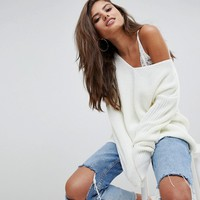 Boohoo Oversized V Neck Sweater at asos.com
