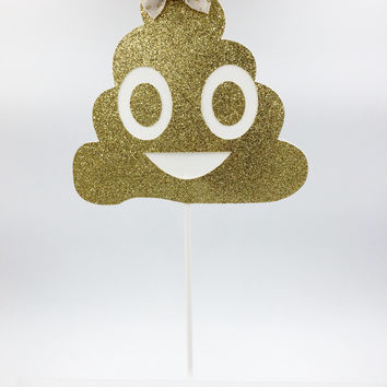 Gold Glitter Poop Cake Topper, Poop Cake Topper, Girls Birthday, Gold Poop Cake Topper, Birthday Cake Decorations
