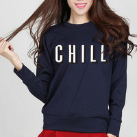 Chill Women Hoodie 2017 New Arrival Spring Autumn Casual Sweatshirts Warm Fleece Loose Fit Hoodies K-pop Pullover Brand Clothing
