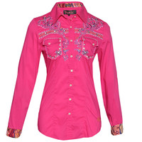 Roar Women's Clement Magenta Embroidered Shirt