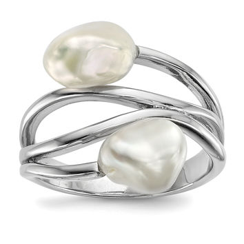 Sterling Silver RH 7-8mm White Baroque FWC Pearl Ring