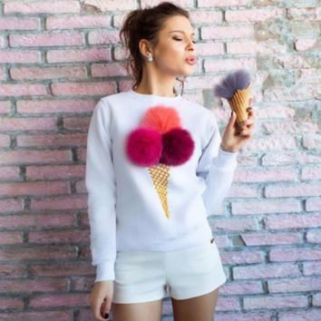 Sweet 3D Ice Cream Plush Long Sleeve Sweater Pullovers