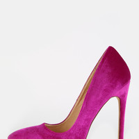 Velvet Pointed Toe Stilettos PURPLE | MakeMeChic.COM