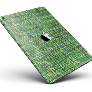 """Green Watercolor Cross Hatch Full Body Skin for the iPad Pro (12.9"""" or 9.7"""" available)"""