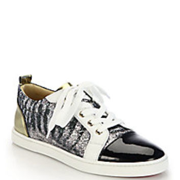 Christian Louboutin - Gondolier Glitter & Patent Leather Sneakers - Saks Fifth Avenue Mobile
