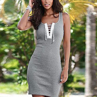 Gray V-neck Front Cross Screw Thread Summer Sleeveless Mini Bodycon Pencil Dress