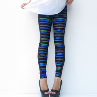 Maternity Duo Neon Blue Stripe Leggings Under Bump,Yoga wear, Maternity Clothing, Mom to be