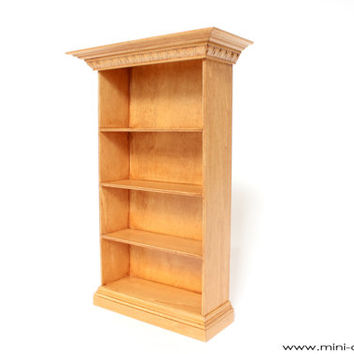 1/6 scale Wooden Bookcase for dolls (Blythe, Barbie, Momoko, Bratz, etc.). Golden oak