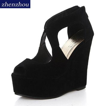 Free shippin 2017summer platform high-heeled shoes platform sandals female classic lacing open toe platform wedges shoes women's