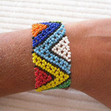 Beaded Bracelet Cuff Tribal Dance Last Minute by handmadedezigns