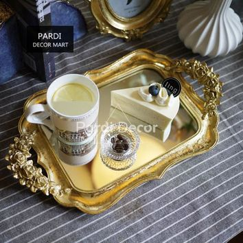 Gold foil handmade carved mirror tray/fruit/cake tray/tea tray/Multi-functional tray