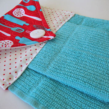 Button-Top Dish Towel - Quilted Hanging Kitchen Towel - Turquoise Dish Towel - Custom Kitchen Towel - Kitchen Utensils - Decorative Towel