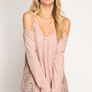Draped in Lace Top - Dusty Pink