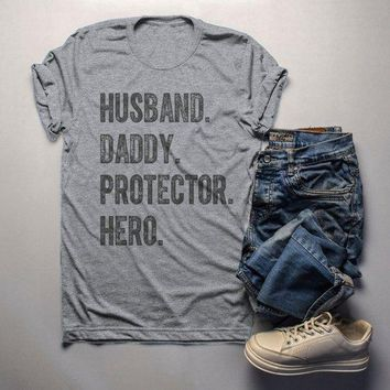 Men's Dad T Shirt Husband Shirts Hero Protector Daddy TShirt Father's Day Gift Idea Tee
