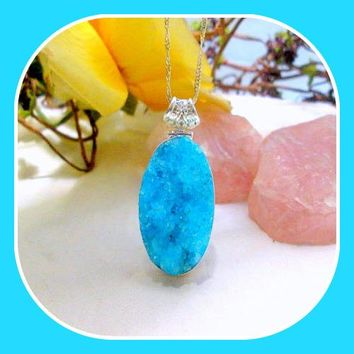 """Amplifier"" Blue Aqua Mist Quartz Druzy Sterling Silver Pendant & Chain"