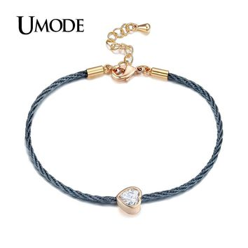 Charm Love Heart Chain Rope Bracelet Female Rose Gold Color Bracelet Jewelry Bijoux Pulsera Mother Gifts