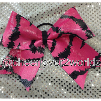 Cheer Bow - Hot Pink Zebra Shiny Cheerleading Dance Ribbon