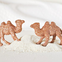 Camel Tree Ornaments Holiday Home Decor in Metallic Bronze Glitter Moroccan Themed Party Decorations or Wedding Favors Gift Set of 2
