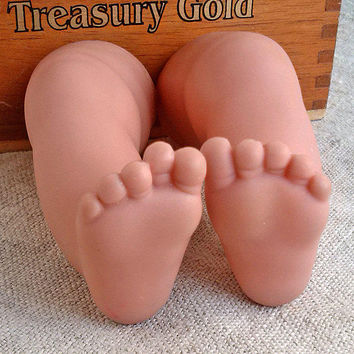 Doll's legs Vintage chubby baby limbs Old Rubber doll puppet parts Children baby toy Assemblage altered Repurpose reclaim Repair Restoring