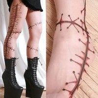Creepy Doll Leg Frankensti​en Horror Makeup Surgery Stitch Wound Sewn Skin Tight