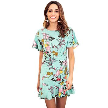 2018 summer new European and American green print dress round neck short-sleeved beach holiday wind women's clothing