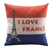 I Love France Flag  Patterns 18  Design For Pillow Cotton Linen Case, Pillow Cushion Case 18 x 18 inches