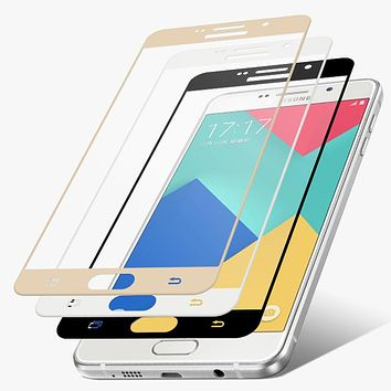 2.5D 9H Colorfull Full Cover Tempered Glass Screen Protector Toughened for Samsung Galaxy A3 A310 A5 A510 A7 A710 2016  C5 C7