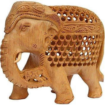 Unique Open Art Work Hand Carved Elephant Figurine In Wood By Benzara