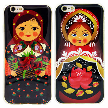 High Quality Cute Russian Dolls Pattern Matryoshka Rubber Soft TPU Funda Capa Mobile Phone Case Cover For iPhone 5 5G 5S 6 6G 6S