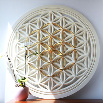 Flower of Life wood carving 22k Gold Seed of Life, Sacred Geometry, A high energy resonator and a spiritual gift for your awakened loved one