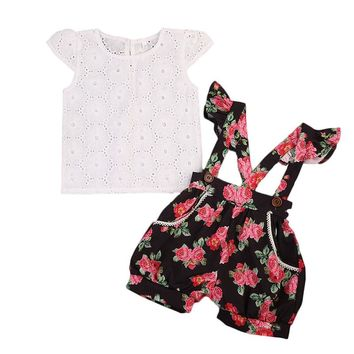 2017 Summer Toddler Kids Clothing Set Princess Girls Lace T-shirt  Tops+Floral Shorts b6cb96510