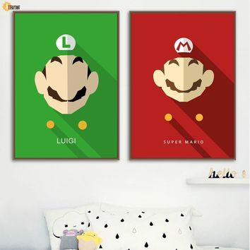 Super Mario party nes switch  Bros Luigi Wall Art Canvas Painting Nordic Posters And Prints Wall Pictures Kids Bedroom Baby Boy Room Home Decor AT_80_8