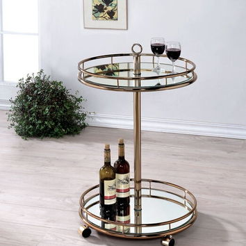 Furniture of america CM-AC234 Trixie collection champagne finish metal round two level tea cart tray with casters