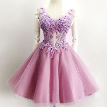 V-neck Applique Homecoming Dress, Sweet Chiffon Homecoming Dresses