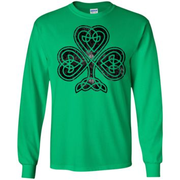 St Patricks Day Celtic Shamrock Vintage - Long Sleeve LS, Sweatshirt, Hoodie