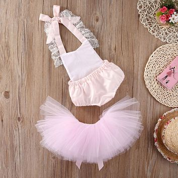 Christmas Baby Girl Clothes Set Lace Bodysuits Cute Belt Tutu Tulle Skirts Fancy Outfits Set Baby Girls Clothing Costume 0-2T