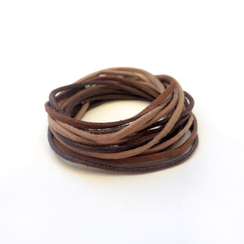 Suede Wrap Bracelet Brown Tan Boho Friendship