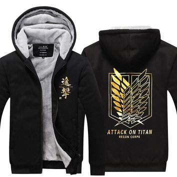Cool Attack on Titan YINUODAIL  Coat Zipper Hooded Printed Hoodies No  Winter Sweatshirt Rivaille Zip Up Sweater AT_90_11