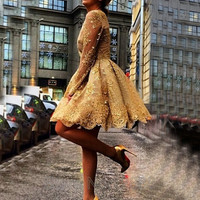 2016 Vintage Golden Lace Long Sleeve Cocktail Dresses Custom Made A-Line Beading Sequined Short Prom Party Gowns