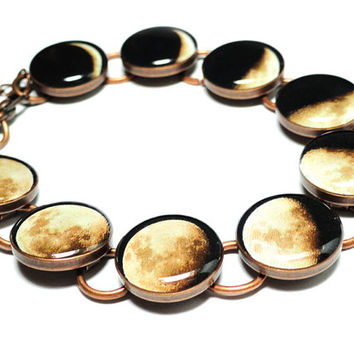 Phases Of The Moon Copper Vintage Style Resin Charm Link Bracelet Space Solar System Lunar