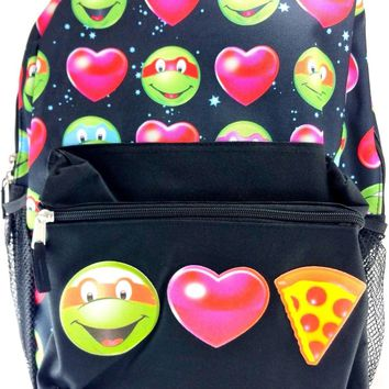 "Licensed Teenage Mutant Ninja Turtles Girls 16"" Canvas Black School Backpack"