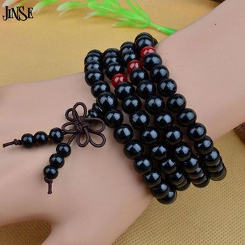 JINSE Sandalwood Buddhist Bracelet Buddha Meditation 6mm/8mm 108 Prayer Bead  Bracelet  NAB052